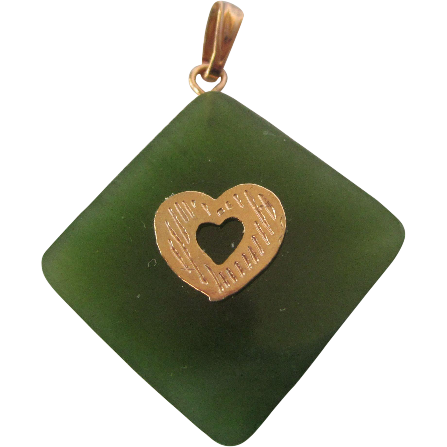vintage jade and gold filled pendant charm with from