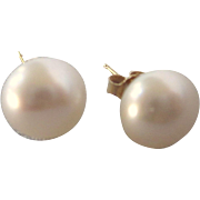 Vintage 14K 9mm Freshwater Pearl Stud Pierced Earrings