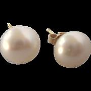Vintage 14K 9mm Freshwater Pearl Stud Pierced Earrings