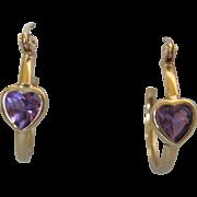 Estate 14K Gold Amethyst Heart Gemstone Hoop Pierced Earrings