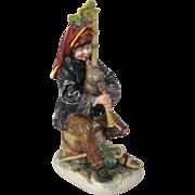 Antique Capodimonte Bagpiper Figurine Early 20th century, Ginori, Italy