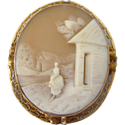 Vintage 14K Gold Carved  Scenic Shell Large Cameo Brooch Pendant, Exquisite Detail