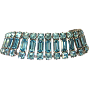 Signed WEISSCO Blue Rhinestone Baguette Bracelet, Mid-20th Century