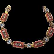 "Vintage Italian Micromosaic 7-1/2"" Bracelet in Gorgeous Red Palette"