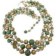 Vintage Three Strand Green and Gold Sugar Bead and Crystal Mid-20th Century Necklace