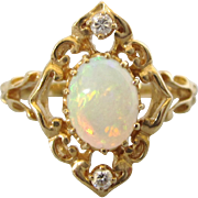 Vintage Ornate 14K Gold, Fire Opal and Diamond Size 7-1/4 Ring