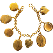 Beautiful Antique Gold Filled Locket Bracelet, Large Lockets, Triple Link Bracelet