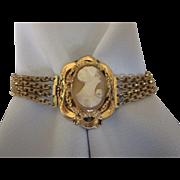 "Vintage Shell Cameo Multi-Row Chain 7-1/2"" Bracelet"