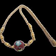 "Vintage 16"" Cloisonne Bead Goldtone Choker Necklace"