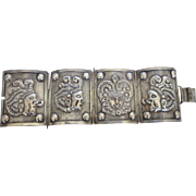 Impressive Wide Sterling Pre Eagle Mexican Mayan Panel Bracelet, 56.4 Grams
