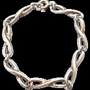 "Vintage Sterling Silver Figure Eight Open Link 8"" Bracelet"