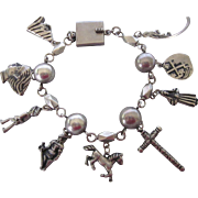 Chunky Large Mexican Motif Sterling Charm Bracelet, 53.7 Grams!