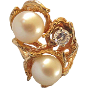 Spectacular Estate Mid-Century Freeform 14K Gold Diamond and Large Cultured Pearl Ring