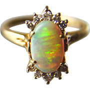 Estate Fiery Opal and Diamond 14K Yellow Gold Ring, Size 8-3/4