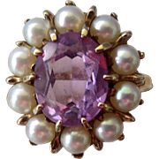 Romantic Victorian Revival 10K Gold Amethyst Gemstone and Cultured Pearl Ring