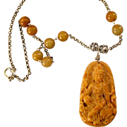 Vintage Chinese Carved Goddess Guan Yin Pendant Necklace With Yellow Jade and Sterling Silver Beads