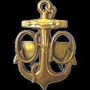 Antique Brass Nautical Anchor Easel Double Photo Frame