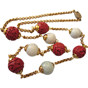 """Exquisite Chinese Cinnabar and Burmese Jade Bead 24"""" Necklace"""