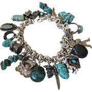 Vintage Loaded Southwestern Motif Sterling Turquoise Charm Bracelet, One of a Kind and Fabulous!  Chunky!!