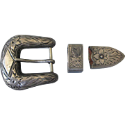 Vintage Engraved Western Sterling Ranger/Buckle Set