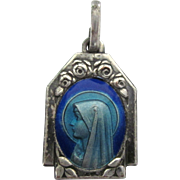 Vintage Blue Enamel Two Sided Ornate Medal, Virgin and Lourdes, in Silver Finish
