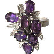 Vintage Mid-Century Sterling and Amethyst Gemstone Large Cluster Ring, Size 7