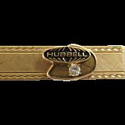 Vintage 12K GF Diamond Hubbell Company Tie Bar