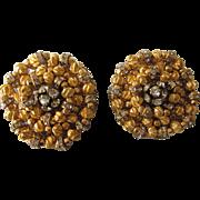 Early Signed Carnegie Huge Goldtone Rhinestone Clip Earrings - Early Mark