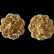 Elegant Signed Hobe Goldtone Chain Design Clip Back Earrings, Pristine