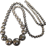 "Vintage Graduated Silverplated Bead 36"" Necklace, Huge Beads!"