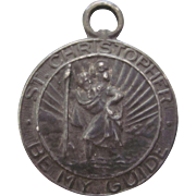 Old 1930's St. Christopher Be My Guide Medal Pendant - Plane, Automobile