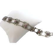"""Vintage Mexican Sterling and Opal Glass Segment 8"""" Bracelet"""