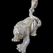 Vintage Sterling Dimensional Tiger Big Cat Pendant