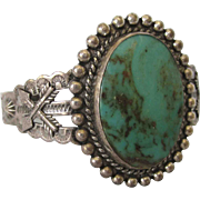 Signed Navajo Stamped Sterling and Turquoise Large Cuff Bracelet, Fred Harvey Era, Small Size!