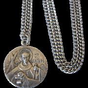 "Vintage Antaya Sterling St. Bernard Medal, 25"" Stainless Chain"