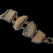 Bold Sterling Silver and Mineral Specimen Freeform Segment Bracelet, Hallmarked