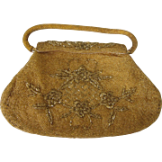 Scarce Large 1950's Intricate Gold Beaded Evening Handbag Marked Kishu Hong Kong, Mid-20th Century
