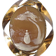 Antique Large Rebecca at the Well Gold Filled Shell Cameo Brooch