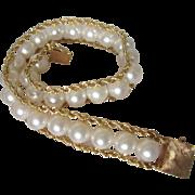 """Vintage 14K 585 Gold Lustrous Cultured Pearl Bold 7-1/2"""" Bracelet"""