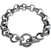 Bold Sterling Silver Belcher or Rolo Link Heavy Chain Bracelet With Toggle, 44 Grams!