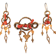 Romantic Victorian 10K Branch Coral Demi Parure Brooch and Dangline Pierced Earrings - Exceptional!