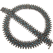 Exotic Etruscan Turquoise 92% Silver Set - Bracelet and Choker Necklace