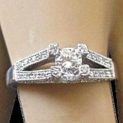 Estate Modern 14K White Gold DIAMOND Ring - 3/4 TCW - Size 7