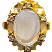Exquisite Estate 18K Moonstone and Diamond Ring - 1960s - Size 6-1/2