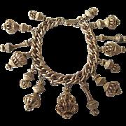 Vintage Mid 20th Century Goldtone Costume Charm Bracelet