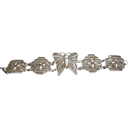 Large Sterling Filigree Butterfly Panel Bracelet