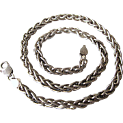 "Vintage Italian Sterling Silver Heavy and Bold Wheat 20"" Chain Necklace, 57.9 Grams!"