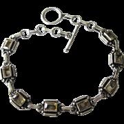 Vintage Sterling and Citrine Gemstone Link Bracelet, Paperclip Links