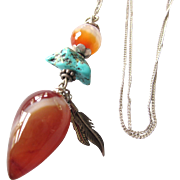 Vintage Carnelian 'Divining' Pendulum Pendant With Feathers and Turquoise on Sterling Chain