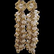 Runway Vintage Crystal Shoulder Duster Drippy Pierced Earrings